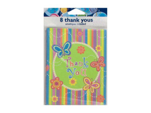 "Wholesale: Colorful butterfly stripe ""Thank You"" notes, set of 8"