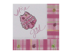 """Wholesale: """"It's a Girl"""" napkins, pack of 16"""
