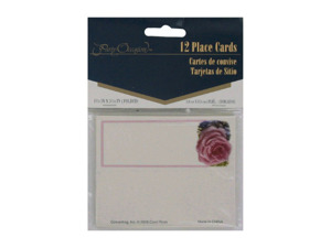 Wholesale: Roses and hydrangea place cards, pack of 12