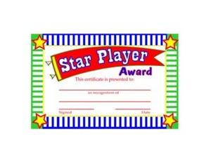 Star player award certificates