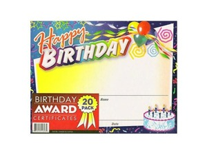 Wholesale: Birthday Award Certificates