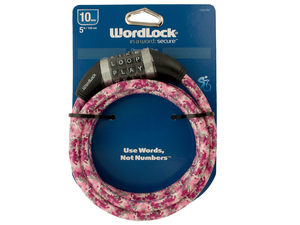 WordLock 10mm Pink Camouflage Resettable Steel Cable Bike Lock