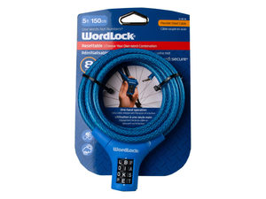WordLock 8mm 5 Ft Bike Lock in Assorted Colors