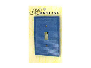 Blue ribbed switch plate