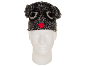Grey and Black Owl Knit Hat with Tassels