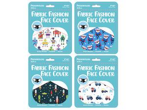"""Wholesale: Boys Preschooler 9"""" x 3.5"""" Fabric Face Mask 4 Asst"""