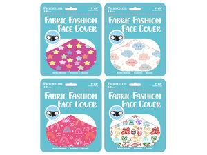 """Wholesale: Girls Preschooler 9"""" x 3.5"""" Fabric Face Mask 4 Asst"""