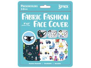 """Wholesale: Boys 3 Pack Preschooler 9"""" x 3.5"""" Washable Face Mask"""