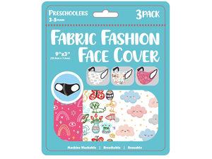 "Wholesale: Girls 3 Pack Preschooler 9"" x 3.5"" Washable Face Mask"