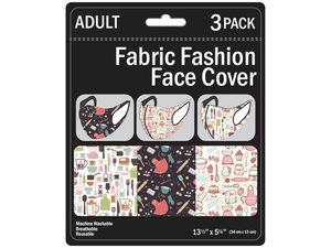 Wholesale: 3 Pack Baking/Cooking Adult Size Washable Face Mask 3 Asst