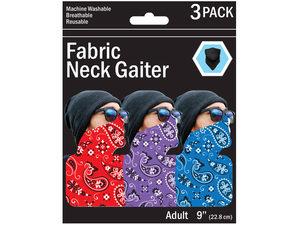 Wholesale: 3 Pack Bandana Style Neck Gaiter 3 Asst Colors