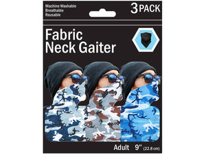 Wholesale: 3 Pack Camouflage Style Neck Gaiter 3 Asst Colors