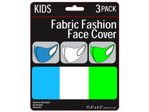 Wholesale: 3 Pack Kids Neon Colored Washable Face Mask 3 Asst