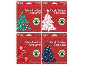 Wholesale: VAdult Candy Canes and Gingerbread Washable Face Masks 4 Asst