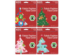 Wholesale: Kids Christmas Theme Washable Face Masks 4 Asst