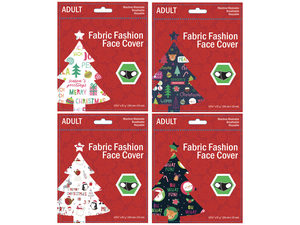 Wholesale: Adult Christmas Greeting Washable Face Mask 4 Asst