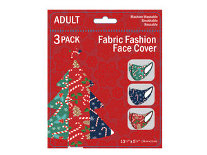 Wholesale: 3 Pack Adult Christmas Candy Canes & Gingerbread Washable Face Mask