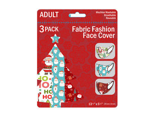 Wholesale: 3 Pack Adult Christmas Santa and Friends Washable Face Masks