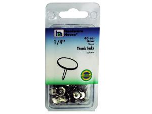 Wholesale: Nickel thumb tacks, pack of 40