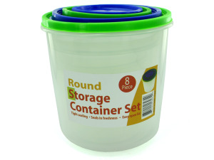 4 Pack round storage container set with lids