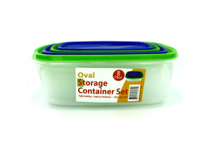 4 Pack oval storage containers with lids