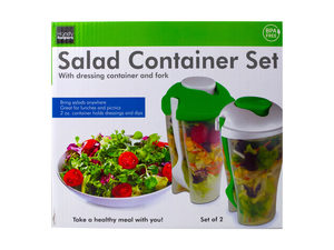 Wholesale: 2 Pack Salad Container Set with Dressing Containers & Forks