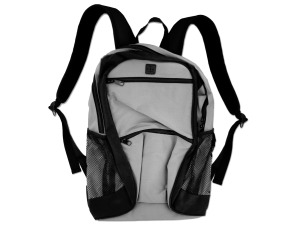 Poly canvas backpack gray with black trim/zipper