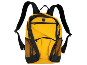 Poly canvas backpack yellow with black trim/zipper