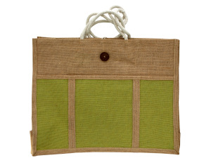 Green wicker tote