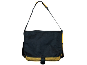 Yellow/Black Messenger Bag with Mesh Pockets
