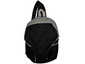 Black/Grey Sling Strap Backpack with Mesh Pockets