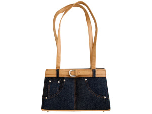 Blue Denim Handbag with Belt Accent and Tan Trim