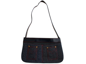 Blue Denim Handbag with Red Stitching and Pockets