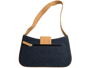 Blue Denim Handbag with Tan Trim