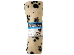 Wholesale: Fleece Paw Print Pet Blanket
