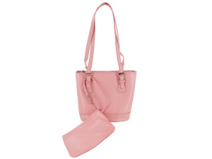 Pink Handbag with Detachable Wristlet