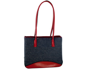 Blue Denim Handbag with Red Trim