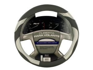 Black/Grey Vinyl Steering Wheel Cover
