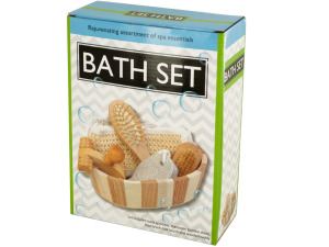 Wholesale: Essential Bath Set in Wooden Basket
