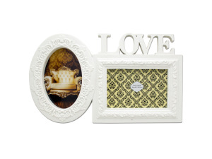 White Love Dual Photo Frame