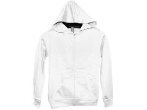Juniors' Medium White Zip Hoodie