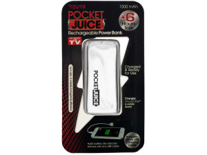 White Pocket Juice Rechargeable Power Bank with USB Cable