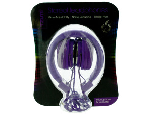 Purple Foldable Headphones with Microphone & Remote