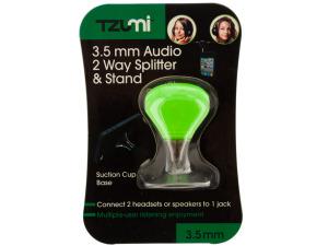 Green 2 Way Audio Splitter & Stand