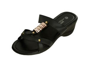 Wholesale: Black Strappy Wedge Sandals with Gold Accents
