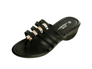 Wholesale: Black Wedge Sandals with Gold Accents