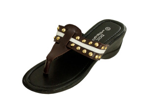 Wholesale: Brown Wedge Sandals with Stripe & Spike Accents