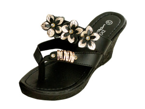 Wholesale: Black Floral Wedge Sandals with Gold & Jewel Accents