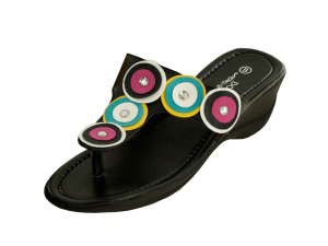Wholesale: Black Wedge Sandals with Circle & Jewel Accents