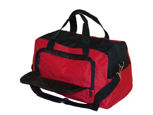Red & Black Duffle Bag with Zipper Pockets